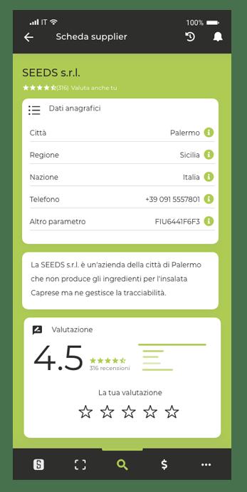 Valutazione del prodotto alimentare dell'azienda da parte del cliente