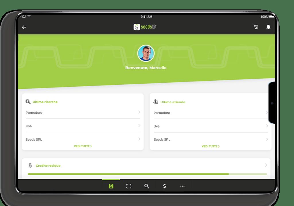Seedsbit Tablet Android e iOS App di tracciabilità agroalimentare